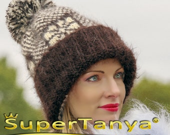 Fuzzy ski mohair hat with Icelandic/Nordic pattern in brown and ivory by SuperTanya