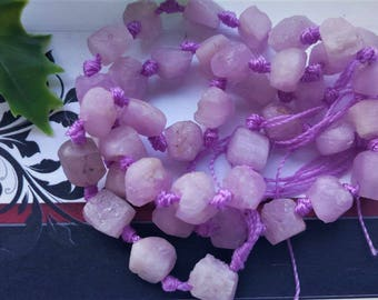 Natural Pink Kunzite Beads Rough Nuggets, long strand,Grade AA,semi-precious stone,DIY jewelry beads, jewelry supply