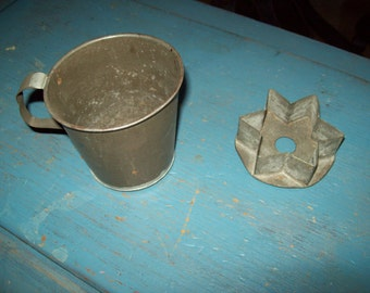 Vintage metal cup star cookie cutter retro rustic country soldered repaired bake ware drink ware kitchen farmhouse decor wreath tie on