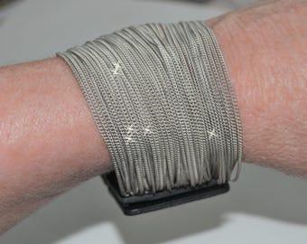Retro, Retro Bracelet, Retro Chain Bracelet, Multi Chain, Silver Chain, Steampunk, Leather Snap Bracelet, Layered Chains, Thin Chains