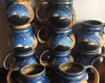 16-18 oz Mountain Mug- Starry Cerulean Sky