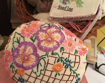 Vintage hand embroidered fabric pin cushion flower basket