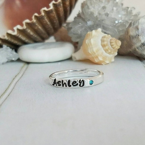 Sterling Silver Name Ring, Birthstone ring, Personalized Name Ring, Stackable Rings, Mommy Name Ring, Birthstone name ring, Mother Ring, 3mm
