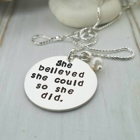 She Believed She Could So She Did, Sterling Silver Graduation necklace, Inspirational Jewelry, Personalized gift, daughter gift, graduation