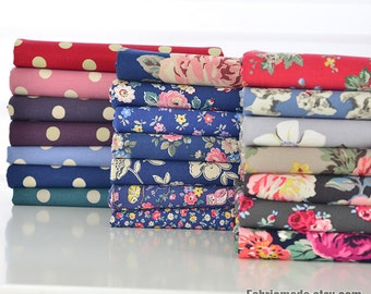 Sale- Heavy Canvas Cotton Fabric Shabby Chic Flower Polka Dots Canvas Heavy Upholstery Floral Fabric- 1/2 yard