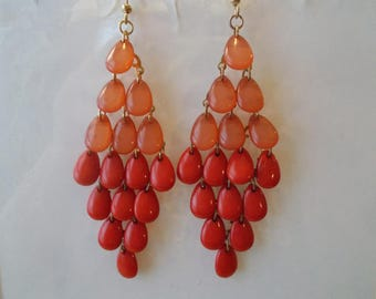Silver Tone and Shades of Pink Teardrop Beads Layered Earrings