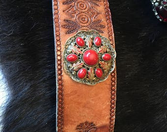 Stunning 1930's Art Deco Czech red cabochon glass, filigree metal cold painted enamel brooch with light brown leather cuff belt