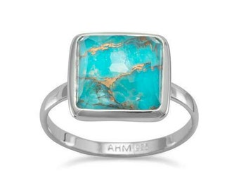 Large Square Freeform Faceted Clear Quartz over Turquoise Stackable Ring, Rhodium plated sterling silver stackable ring, size 5 - 9