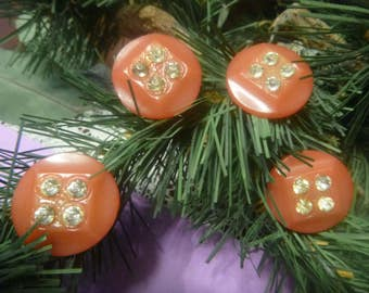 4 Red Bakelite Rhinestone Dress Buttons, 4 Red Colored Rhinestone Buttons    (T)