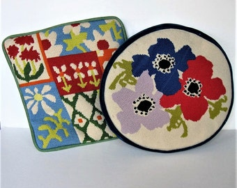 Pair of 80's floral finished needlepoint pillows, Retro Home Decor, handmade, round and square throw pillows, Hipster, Mod, gift idea