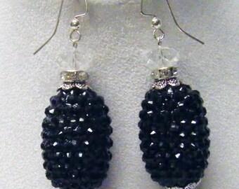 Chunky Black Rhinestone Ball Beads Earrings