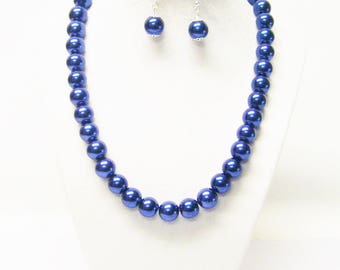 Dark Lapis Glass Pearl Necklace & Earrings Set