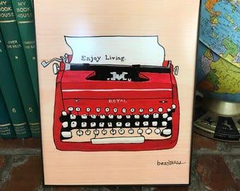 Red Typewriter Print   vintage inspired art   indie art   8x10 print   retro inspired art   retro rewind