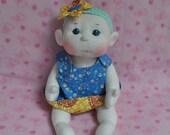 "Custom listing for Beverly. Fretta's Flower BeBe Doll. 40.6 cm / 16"" Soft sculpture Baby Girl. Child Friendly Cloth Doll."