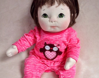 "Fretta's life size 48 cm / 19"" Soft Sculpture Baby. OOAK Textile Baby Doll"