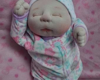 "Fretta's OOAK Soft Sculptured Newborn Baby Girl, Textile Baby Doll, 47 cm / 18.5"" tall"