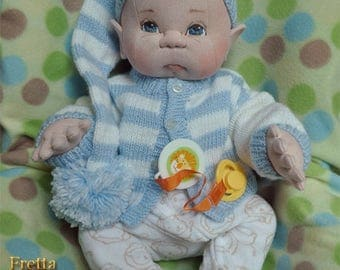 "Fretta's Newborn Baby Boy. Weighted Empathy Baby. Realistic looking 5 point jointed 50.8 cm / 20"" Soft Sculpture Heavy Baby. Empathy Doll"