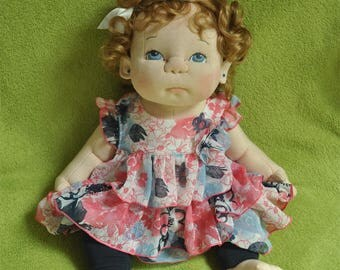 "Fretta's OOAK Life Size 51 cm / 20"" Soft Sculpture Baby. Weighted Empathy Doll. Realistic Looking Cloth Baby Girl Doll. Textile Baby Doll"