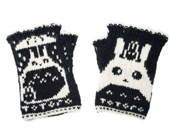 Totoro Fingerless Gloves - Hand-Knit From Pure Merino Wool Totoro Gloves Arm Warmers Merino Fingerless Gloves Texting Gloves Black Gloves
