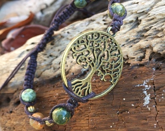 TREE OF LIFE Bracelet-Beaded Tree of Life Bracelet-Earth tones- Natural tones-Macrame Adjustable Bracelet-Boho-Family Tree