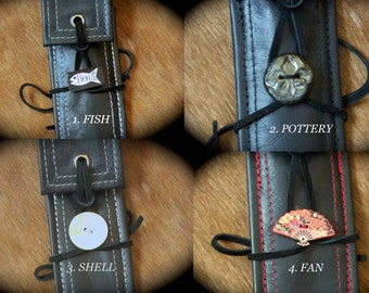 Eco-Friendly Personal Chopstick Cases in Black Leather, 4 Choices Available, Picnic, Festival & Packing Gear, Needle Case, Travel Cutlery