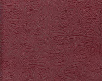 27.75 Square Foot Silverstone Upholstery Leather Half Hide Floral Embossed Wine (IP5)