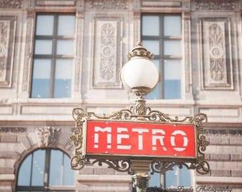 Paris underground photo paris red metro signpost print art deco travel photo Paris architecture print square photo gift for her under 50