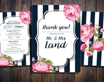 Bridal Shower Invitation Set - Navy with Pink Peonies (Printable, Boho Bridal Shower, Rustic Bridal Shower)