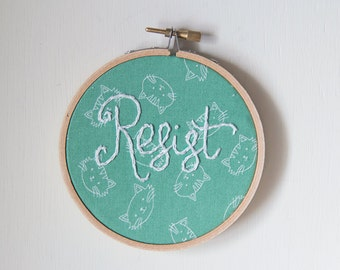 Resist Embroidery, Feminist Art Hand-stitched Hoop Art, Human Rights, Charity, Handmade Embroidery Art, Hoop Decor, Stitching the Resistance