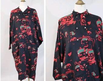 1980s oversized Dress E de Senneville  printed cotton Medium