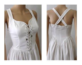 1990 Paris White cotton Strap Corset Dress  Armand Ventilo Extra small