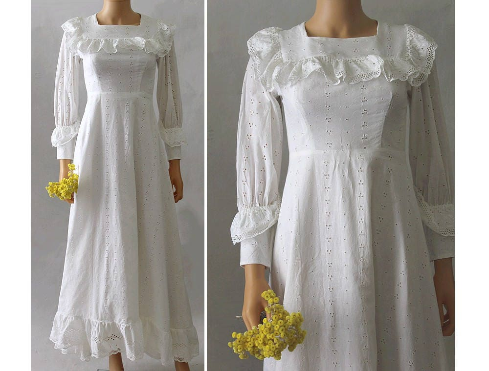 1960 French Wedding Gown / 60s Eyelets Long Dress/ 60s Wedding
