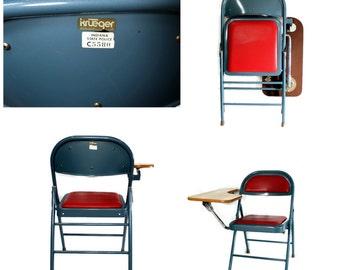 Vintage Industrial Metal Desk Chair - Tablet Arm - Student Desk - Krueger - 1970s - State Police Surplus - Teal - Red - Folding Metal Chair