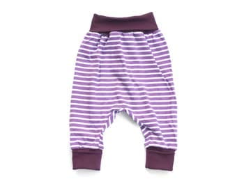 Baby girl slouchy pants, organic jersey harem pants, girl sarouel pants, baby girl leggings, organic cotton pants