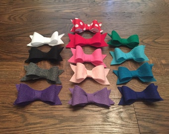 Fancy Felt Bows - 4 Inches