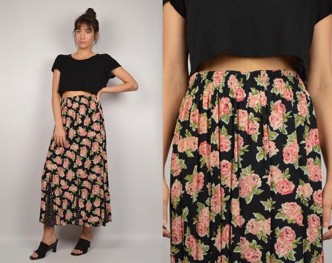 High Waist Long Floral Skirt
