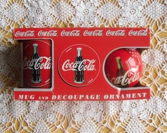 Vintage Christmas Ornaments - Enesco Coca Cola Mug and Decoupage Ornament, Original Box 1996, Coke Christmas Gift Package