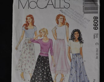 Easy to Sew - One Hour Skirt Pattern, McCall's pattern #8099, sizes 10-12-14