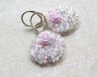 Silver Rose Earrings - Petite Lilac Dangles - Embroidered Earrings - Wedding Gift - Bridesmaid Earrings