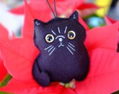Black Persian cat plush ornament
