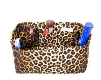 Purse insert organizer for LV BAGS with only inside pockets ,bag insert organizer,bag shaper,Leopard pattern