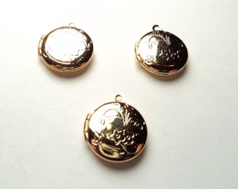 3 pcs - Gold plated  Round mini Lockets with design - m266g