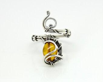 Amber silver ring 'Emma' - Natural Amber - Sterling silver ring - gemstone ring - Baltic Amber ring -gemstone ring -crystal ring -birthstone