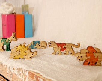 Kids gift, Wooden toy, wood puzzle, Toy set, 5 puzzles, natural wooden toy, animal puzzle, jigsaw, wood working, wood toy, toy, package #9.