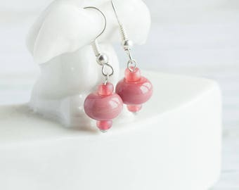 Christmas In July Rose berry earrings_tiny pink_artisan lampwork glass_boxberry cowberry_modern everyday jewelry_minimalist OOAK_teenager ea