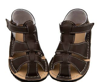 Dark brown Toddler Leather Sandals,lining, Vibram sole, support barefoot walking, sizes EU 16 to 24 - US 2 to 7.5