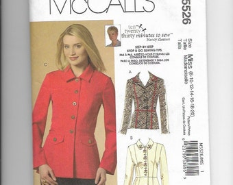 UNCUT Sewing Pattern McCalls 5526 for Jacket, Sizes 8-10-12-14-16-18-20