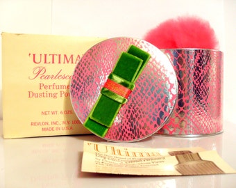 Vintage 1970s Ultima by Revlon 6 oz Pearlescent Perfumed Dusting Powder in Box with Puff SEALED Psychedelic