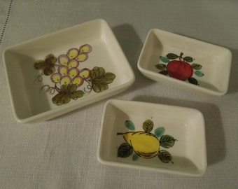 Vintage  Fruit Serving  Dishes Trays Grapes Pear Apple Norleans