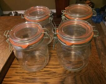 4 Vintage Glass Sealer Jars